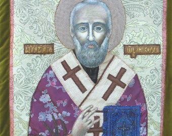 Orthodox ICON St. Nicholas  Miracle-worker Antique Russian Hand Painted Russian Orthodox Icon of St. Nicholas