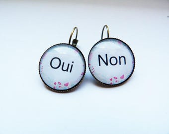 """Earrings cabochon """"Yes or no?"""""""