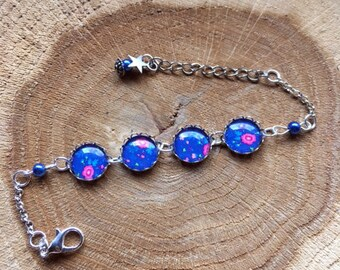 "Silver bracelet ""Flowers on blue"""