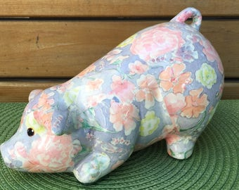 Vintage 70's Figural Floral Transferware Chintz Pig. Shabby chic ceramic pig with pale coloured floral print. Handcrafted ceramic PIG DECOR.
