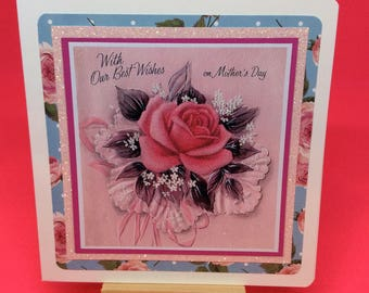 Mothers Day Card Pretty vintage style vintage inspired handmade blue pink floral roses greetings cards for mum