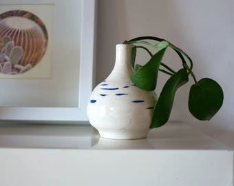 Whimsical Hand Crafted Ceramic White Bud Vase With Blue Stripes