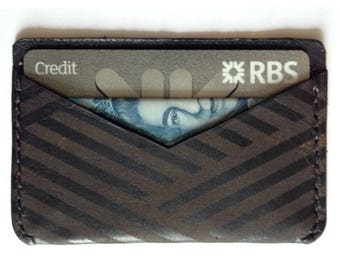 Leather card holder - Black laser etched geometric pattern