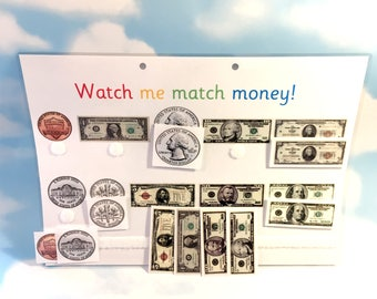 US Coins and Notes, Money, preschool, Matching game, Teaching resource, Visual learners, American, Early learning, Children's development