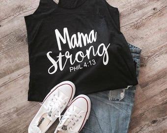 Mama Strong Razor Back Tank Top