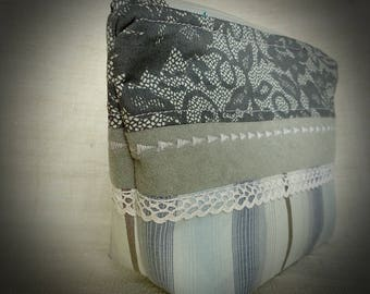 Utopia # 28 pouch / toiletry bag made of upcycled materials: cotonades in shades of blue, gray velvet, white lace