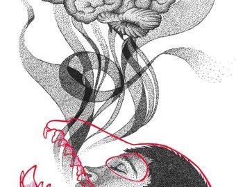 Pointillism Print - Exhale