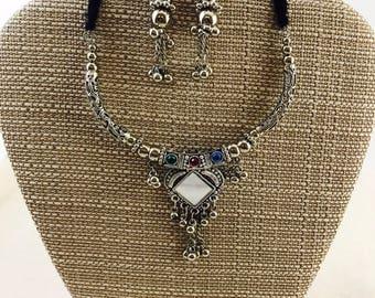 Adjustable Oxidized Silver Metal Necklace Set/ Oxidized Jewelry/ Indian Ethnic Jewelry