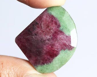 Designer Natural Faceted Cut Ruby Zoisite Cabochon, Jewellery Gemstone, 27X20X4 MM, Pendant Cabochon, Semi Precious, Craft Suppliers, 3500