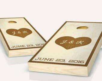 Heart Initials Wedding Cornhole Boards