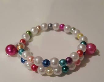 Wrap around memory wire bracelet/girls/children/Rainbow colors/pearls