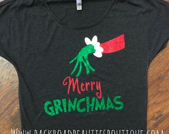Adult Merry Grinchmas Swoop Neck