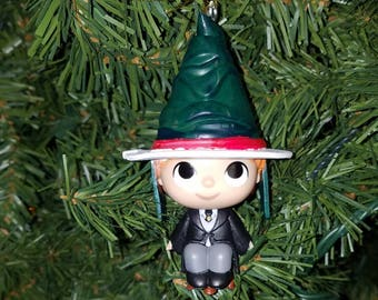 Harry Potter Christmas Ornament Ron with Christmas Sorting Hat