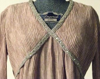 Vintage knit Mr. Mort dress with metallic trim
