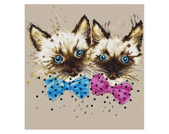 Two Cats Counted Cross Stitch Kit Cats Counted Cross Stitch Luca-S