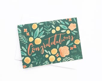 Greeting Card - Cute Floral Stationery - Congratulations Card - A6 Greeting Card - Congrats Card