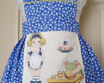 Girl's apron, Easter Apron, Girl's Easter Gift, Easter basket stuffer