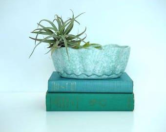 Mid Century Modern Aqua Speckled Planter, Succulent Planter