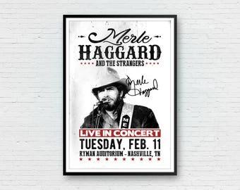 Merle Haggard Art Print, Merle Haggard Poster, Country Music, Merle Haggard Concert Poster, Retro Print