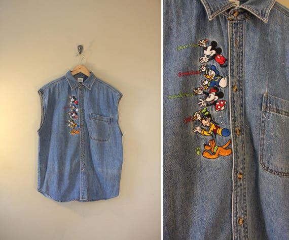 Awesome Vintage Disney Cutoff Denim Shirt / 80's 90's Faded Distressed Medium Wash / Large Extra Large Oversized / Hipster Cartoon Weirdo HEejFDwuG