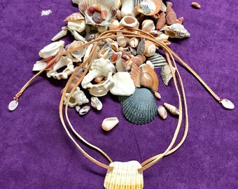 Seashell and leather necklace (SOLD more coming soon)
