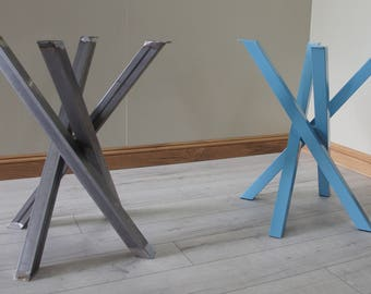 funky metal steel table legs for round square shaped dining table by stoaked