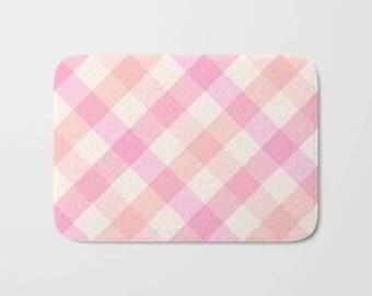 Pink Plaid Bath Mat, Pink Orange Shower Mat, Plaid Bath Mat, Pink Bathroom Bath Mat, Plaid Bath Decor, Pink Bathroom Decor, Dorm Bathroom