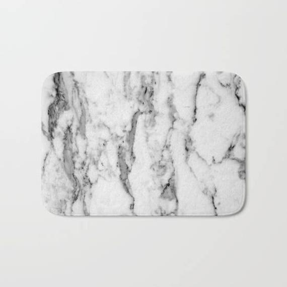 Marble Collection: White Marble Bath Mat Elegant Bath Mat