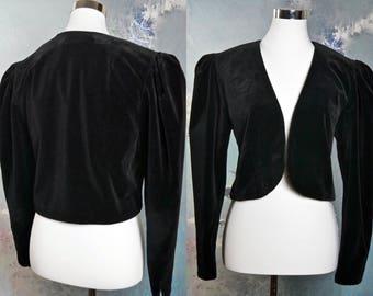 Black Velvet Bolero Jacket, European Vintage Victorian-Style Puff Sleeve/Shoulder Cropped Velvet Blazer: Size 10 US, 14 UK