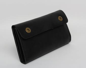GREAT LEATHER WALLET / black leather wallet / black leather clutch