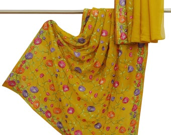 Traditional Indian Clothing Embroidered Yellow Saree Fabric Georgette Sari 5YD VGR6607
