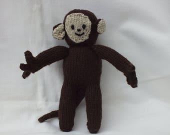 Hand Knitted Monkey, Stuffed Small Soft Animals