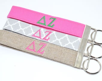 Officially Licensed Delta Zeta Sorority Keychain Key Chain Fob Wristlet Greek Life Personalized Embroidered
