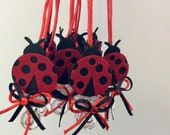 Lady-bug red baby showe pacifier/lady-bug red baby shower favors/lady-bug red baby shower necklace game/lady-bug red baby shower(10 pcs