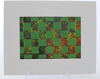Abstract Art Weaving in Green, Blue and Red Gift Idea Ready to Ship
