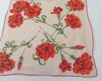 Vintage Handkerchief / Red Carnations