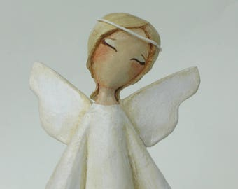 Paper mache angel, Primtive Folk Art Angel, love message, Angel sculpture