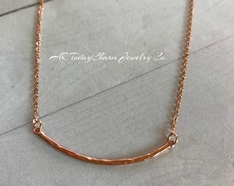 Rose Gold Hammered Curved Skinny Bar Necklace on Rose Gold Chain, Rose Gold
