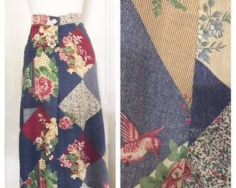 Vintage 70's Hummingbird Patchwork  Skirt