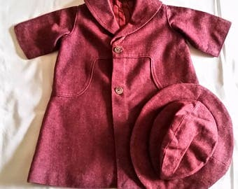 Sweet Vintage Child's Wool Coat with Matching Hat~It's SO Cute