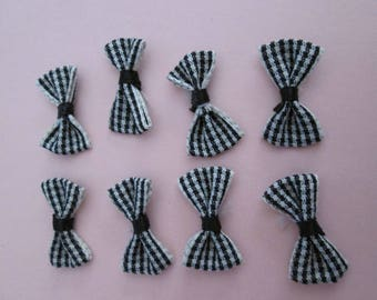 10 knots black gingham 28 x 14 mm cotton and elastane