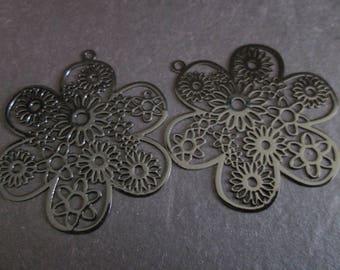 Black flower metal 46 mm 2 prints