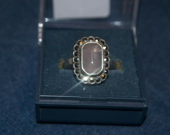 Vintage Silver Marcasite and Moonstone Ring Approx Size Q