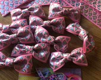 Holographic mermaid tail pattern hair bows