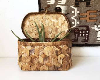 Vintage Rectangular Wicker Lined Storage Basket Lid + Woven Box + Boho Organization + New Bohemians + Naturally Modern Neutral Decor