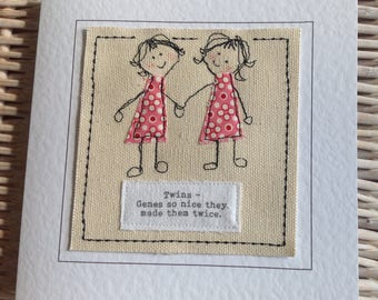 Handmade twin  sister birthday card with special quote. Twin Sister thank you card. Twin sister card. Your words  printed top of card