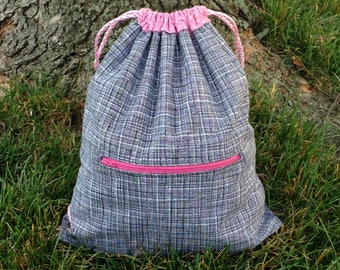 Pink Gray Drawstring Backpack with zipper pocket and snap hook, drawstring bag, gray cinch sack, cinch bag, gym backpack, bag for woman