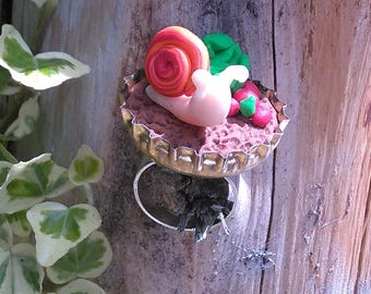 "Ring fimo ""a bit of garden and her snail"""