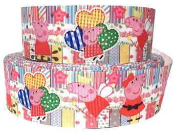 """Grosgrain Ribbon 1.5"""" Peppa Pig - PP8    -  By The Yard - USA Seller ( Buy Another One, Add to Cart,  Save on Combine Shipping )"""