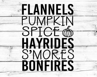 Fall List SVG - Png, Pumpkin Spice Svg, Fall Svg, Pumpkin Svg, Smores Svg, Cricut Svg, Svg Files for Cricut